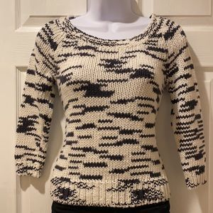 American Eagle black and white linen blend sweater